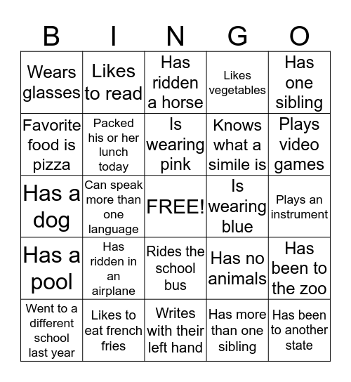 First Day of School Bingo Card