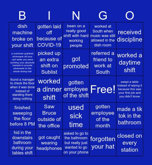 UConn Dining Services BINGO - south specific Bingo Card