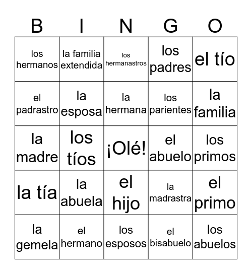 La Familia Bingo Card