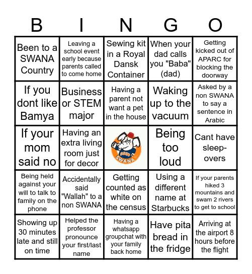 SWANA BINGO Card