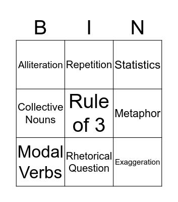 Persuasive Devices Bingo Card