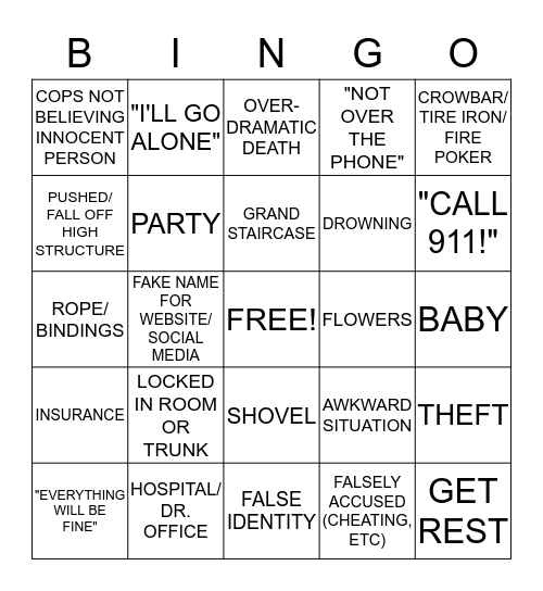 LIFETIME MOVIE BINGO Card