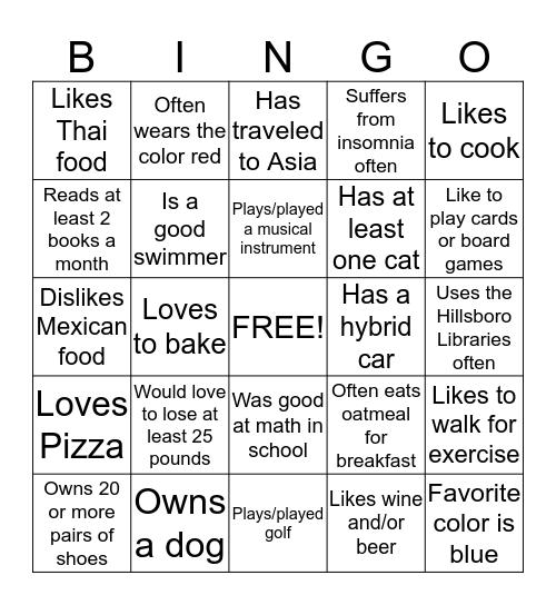 AAUW Friends Bingo Card