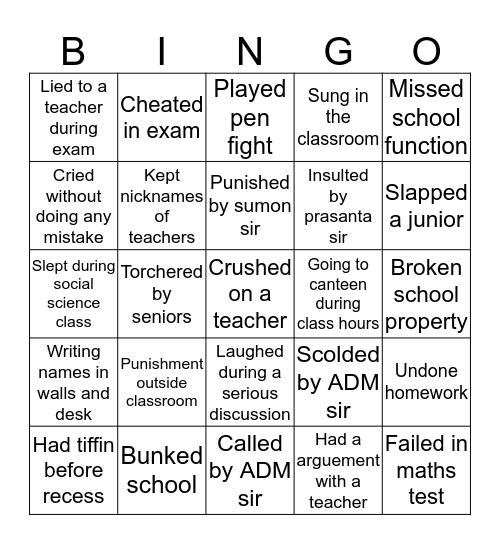 HCHS 2k18 batch Bingo Card