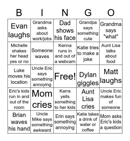 Family Zoom Call Bingo! Bingo Card