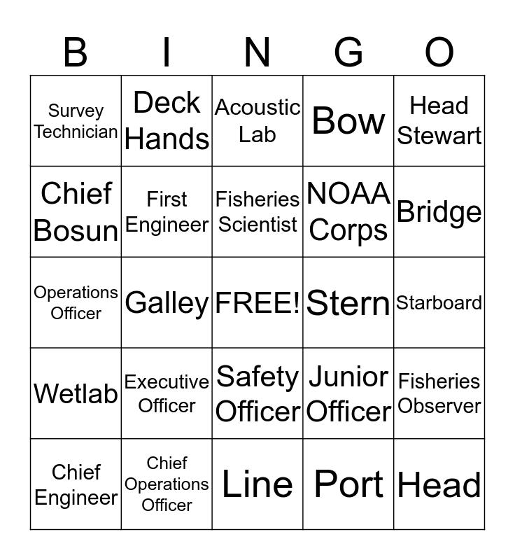 NOAA (National Oceanic Atmospheric Adminstration) Bingo Card