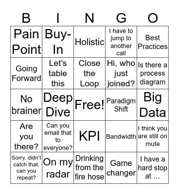 Office Chatter Bingo Card