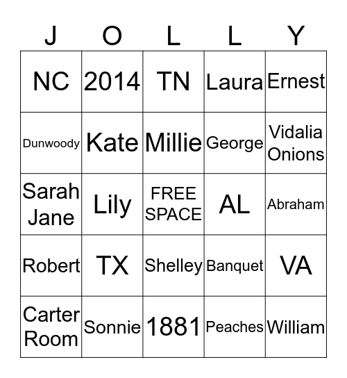 JOLLY FAMILY REUNION 2014 Bingo Card