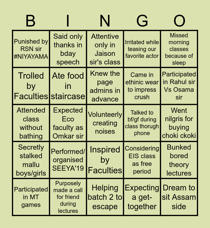 MT educare Quarantine bingo Nov'19 Bingo Card