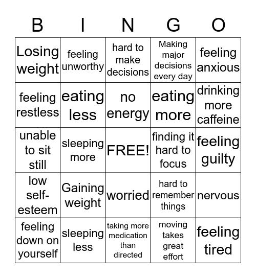 Depression  Bingo Card