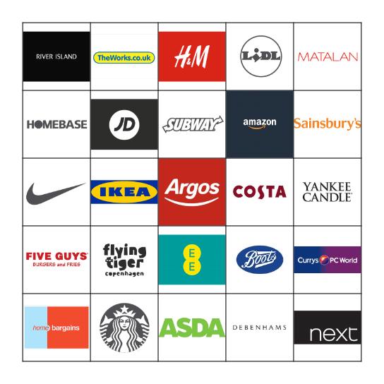 shops & work logo cards Bingo Card
