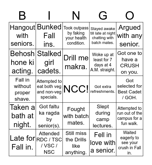 NCC! Bingo Card