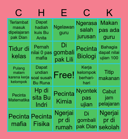 Smandusa Science Class Bingo Card