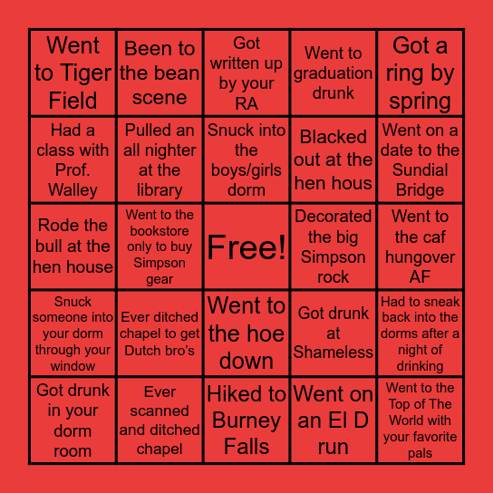 Simpson U. Bingo Card