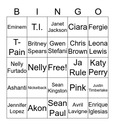 2000s Chart Toppers Bingo Card