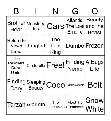 Disney Favorites Bingo Card