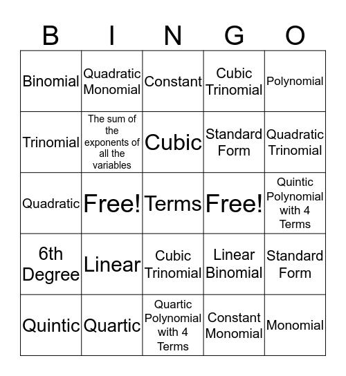 Classifying Polynomials Bingo Card