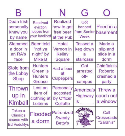 Holy Cross Bingo Card