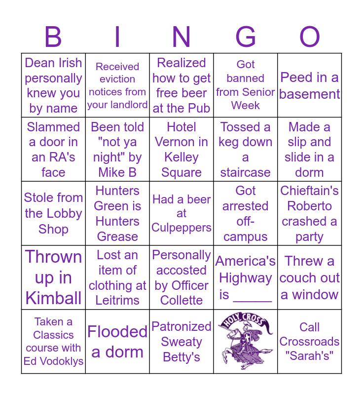 Holy Cross Bingo Card