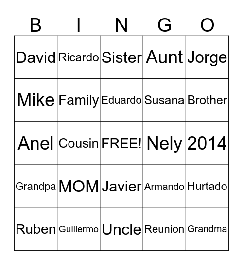 Hurtado Family Reunion Bingo Card