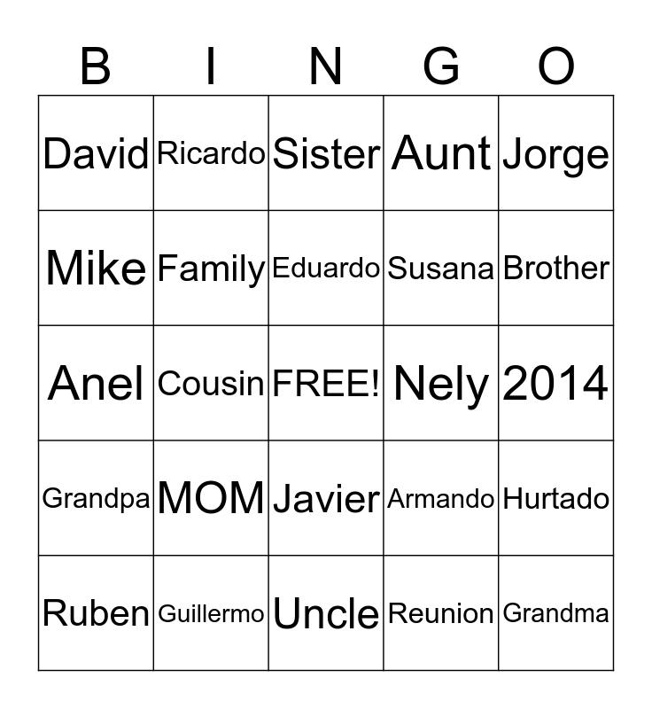 Hurtado Family Reunion Bingo Card