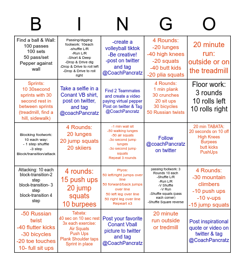 Conant Volleyball 2020 Bingo Card