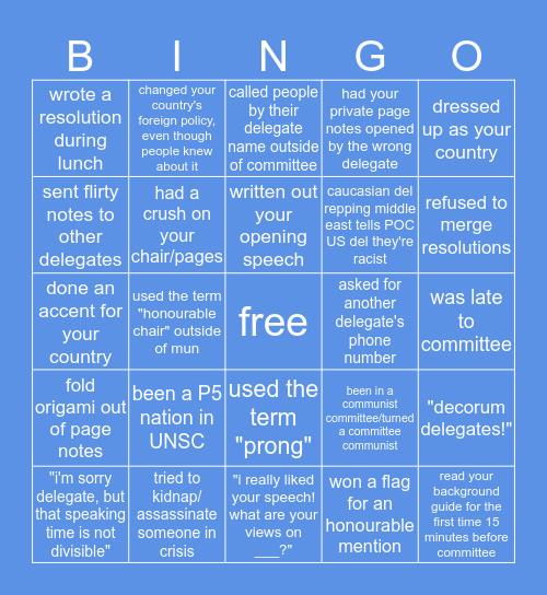 Just MUN Tings Bingo Card