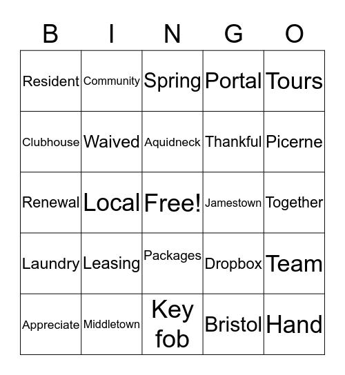 East Bay & Harbor Village Bingo Card