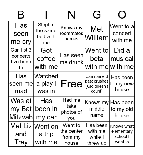 Frances' Bingo Card