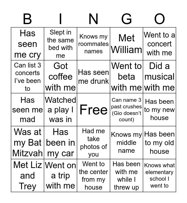 Frances' Bingo Card