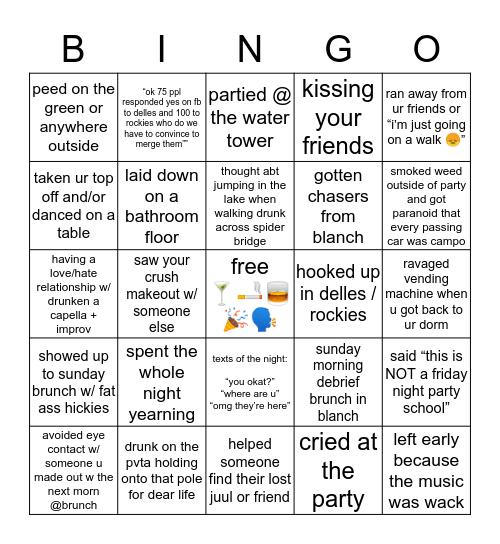mt holyoke party Bingo Card