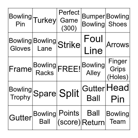 Jessica's Bowling Bash Bingo Card