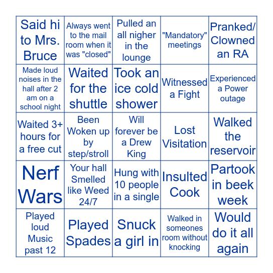Drew Hall Bingo Card