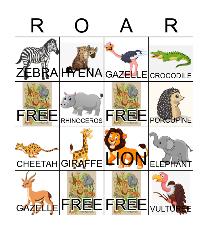 AFRICAN ANIMALS Bingo Card