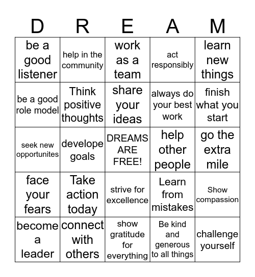 Dream Together and Create Positive Change Bingo Card