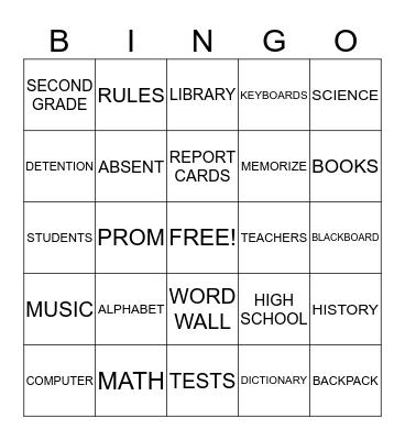 BACK TO SCHOOL!!!! Bingo Card