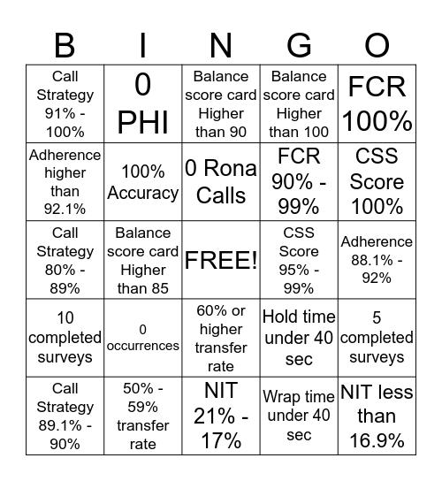 Prime Performer Bingo Card