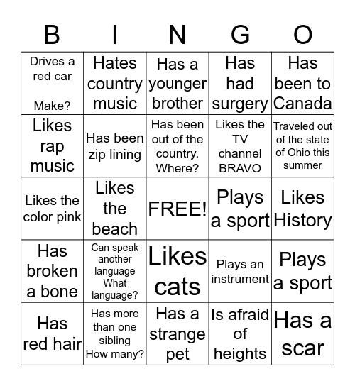 American Studies Bingo  Bingo Card