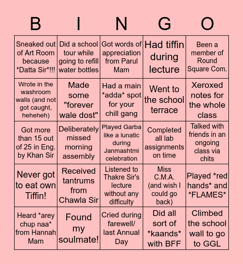 The CMAites' BINGO! (Part 2) Bingo Card