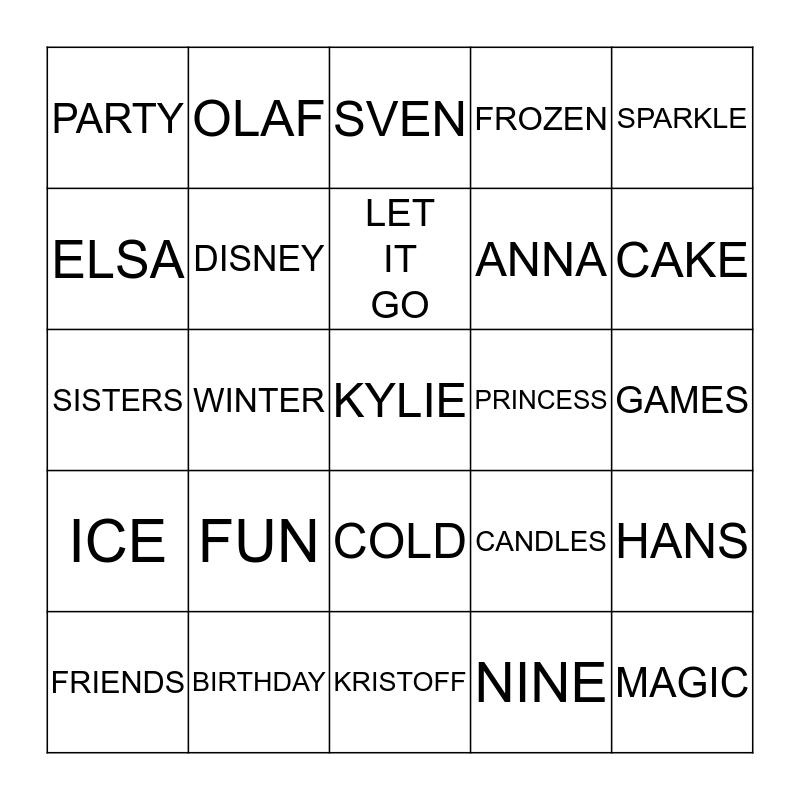 HAPPY BIRTHDAY KYLIE Bingo Card