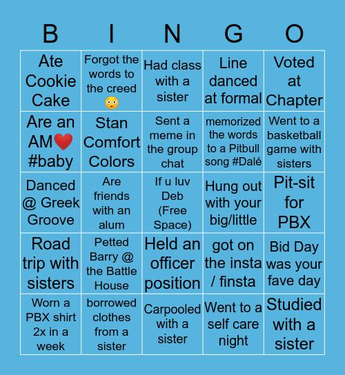 Phi Beta Chi Bingo Card