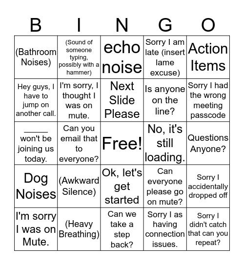 Epic Team Conference Call Bingo Card