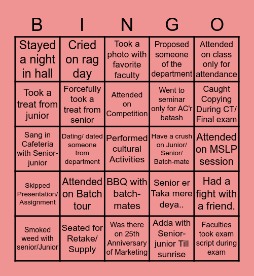 Department of Marketing Bingo Card