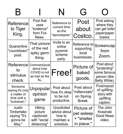 Social Media Quarantine Bingo Card