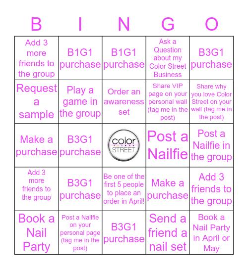 Color Street Bingo - April Incentive Bingo Card