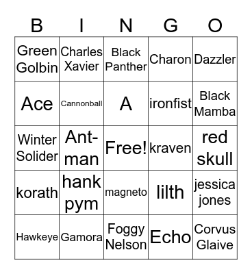 Marvel Bingo Card