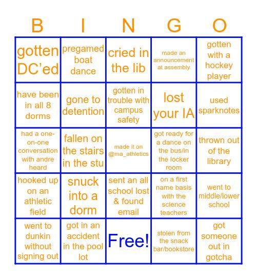 Milton Academy Bingo Card