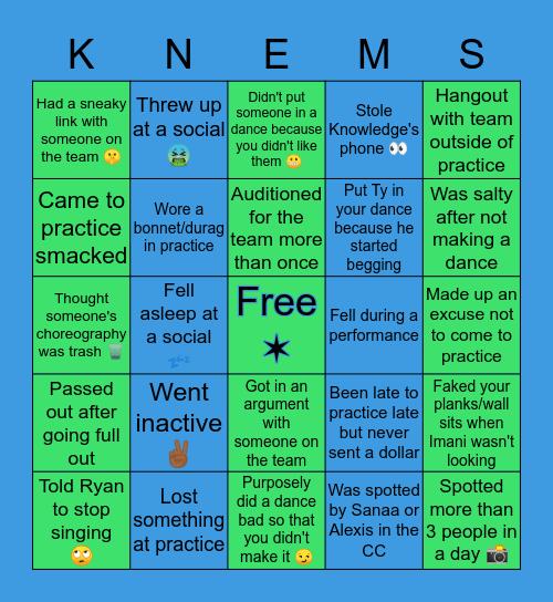 Knemesis Dance Crew Bingo Card