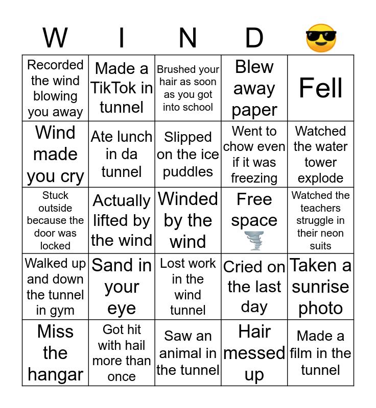 Wind tunnel edition Bingo Card
