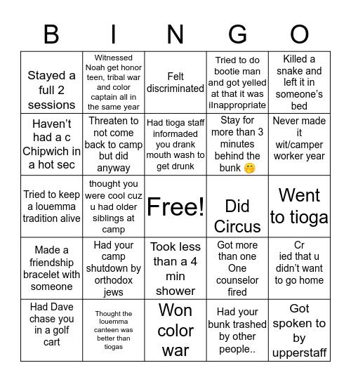 CAMP LOUEMMA Bingo Card